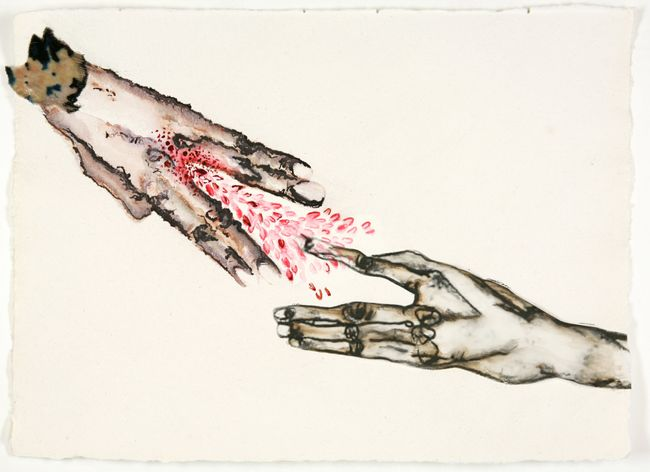 On your hand – I place my hand – barely. In our hands – nothing. by Mithu Sen contemporary artwork