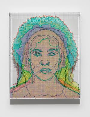 Numbers and Faces: Multi-Racial/Ethnic Combinations Series 1: Face #13, Ellen Yoshi Tani(Japanese/Irish/Danish/English) by Charles Gaines contemporary artwork painting, photography