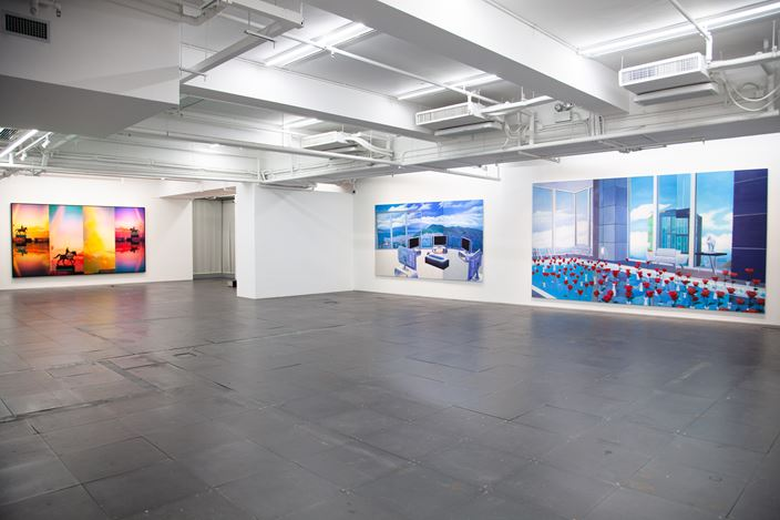 Ma Sibo, Out of Gravity (2020). Oil on canvas, 200 x 300 cm. Courtesy de Sarthe, Hong Kong.