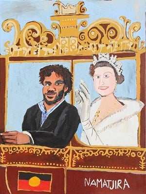 The Royal Tour (Vincent, Elizabeth and the Carriage) by Vincent Namatjira contemporary artwork