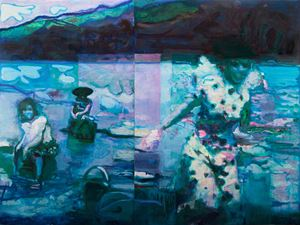 1960s Images: Washing Clothes in A River by Jhong Jiang Ze contemporary artwork