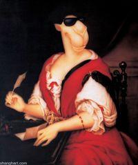 Portrait of Madame de Sevigne Writing by Zhou Tiehai contemporary artwork painting