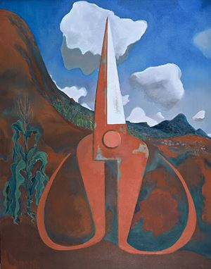 Dreaming of the Red Earth: Upright Scissors by Mao Xuhui contemporary artwork