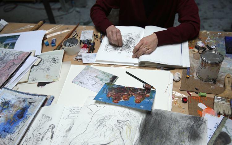 Rita Ackermann in her studio. © Rita Ackermann. Courtesy Hauser & Wirth.Photo: Tanya & Zhenya Posternak.
