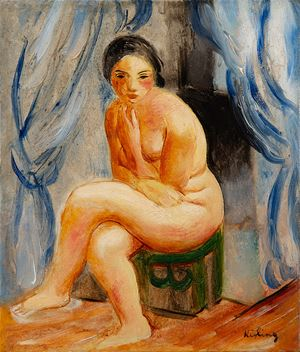 Nu assis by Moïse Kisling contemporary artwork