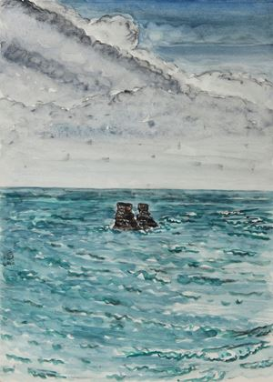Candlestick Islet with Cloudy Sky by Chuan-Chu Lin contemporary artwork