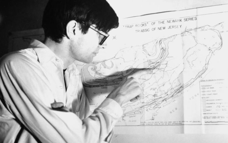 Robert Smithson with Map of New Jersey (1968) (detail). © Holt/Smithson Foundation, Licensed by VAGA at ARS, New York. Courtesy Marian Goodman Gallery. Photo: Nancy Holt.