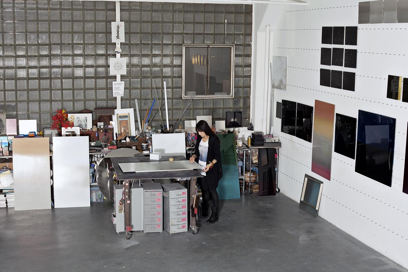 Image: Miya Ando in her studio, New York. Photo: Lorraine Young.
