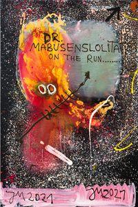 'FULLE: TELESKOP-BOY IM TOTALSTEN GEMÄLDE!' by Jonathan Meese contemporary artwork painting, works on paper
