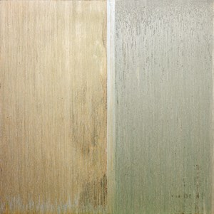 Two Colored Gold with Silver Band in the Middle by Pat Steir contemporary artwork