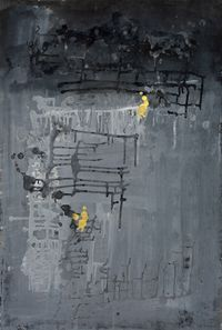 Golden Human with Gray World #1 by Yi Kai contemporary artwork painting