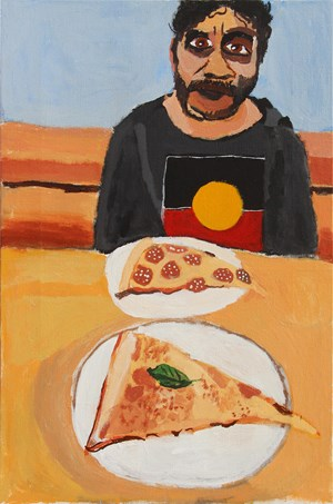 Self-Portrait (Deep Pizza) by Vincent Namatjira contemporary artwork