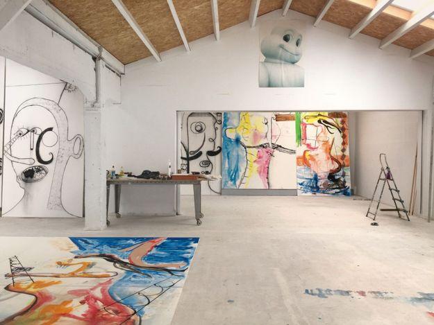 Albert Oehlen's studio, Ispaster, Spain (2020).© Albert Oehlen. Courtesy Gagosian. Photo: Esther Freund.
