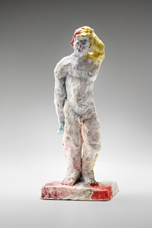 Statue (red and yellow) by Stephen Benwell contemporary artwork