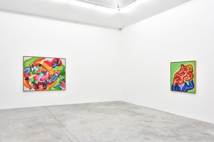 Exhibition view: Peter Saul, Art History is Wrong, Almine Rech, Paris (18 January–29 February 2020). © Peter Saul. Courtesy the Artist and Almine Rech. Photo: Rebecca Fanuele.