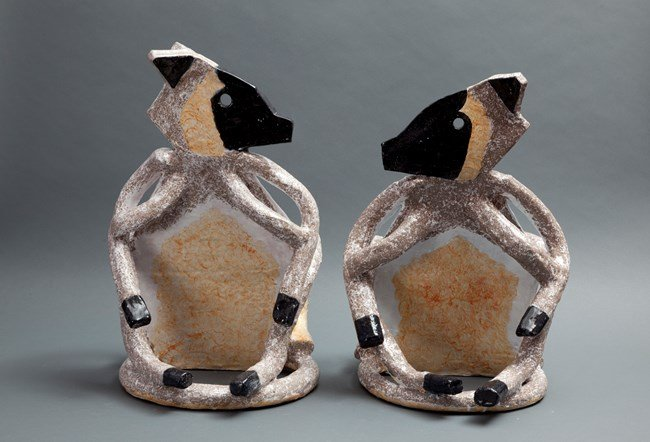 Lumholtz Tree Kangaroos, a pair by Peter Cooley contemporary artwork