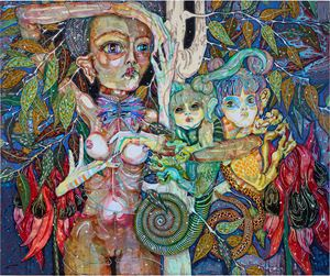 so grateful too have met you - so grateful to open my cells for u to grow u by Del Kathryn Barton contemporary artwork