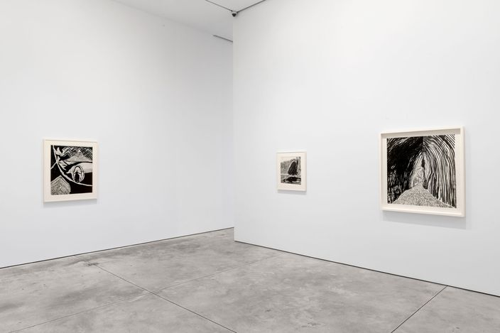 Exhibition view: Matthew Wong, Footprints in the Wind, Ink Drawings 2013–2017, Cheim & Read, New York (5 May–11 September 2021). © 2021 Matthew Wong Foundation / Artists Rights Society (ARS), New York. Photo: Alex Yudzon / Cheim & Read, New York.