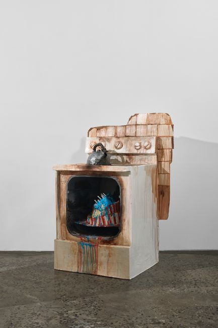 Stove with 4th of July Cake and Teapot (The Covid Diaries Series) by Valerie Hegarty contemporary artwork
