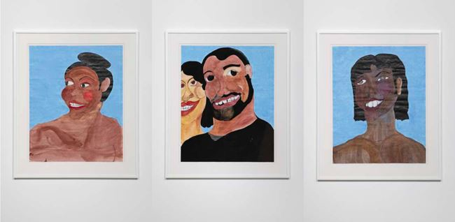 Black Joy 3 - Smirk, Black Joy 4 - With Yellow Bone, Black Joy 5 - With Large Teeth by Tschabalala Self contemporary artwork