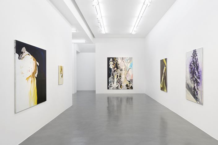 Exhibition view: Clare Woods, Doublethink, Simon Lee Gallery, London (6 September–5 October 2019). Courtesy the artist and Simon Lee Gallery.