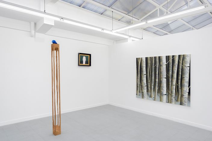 Exhibition view: Group Exhibition,birds, cigarettes, guitars, eyes and trees, Rodolphe Janssen, Brussels (9 November–22 December 2017). Courtesy the artists and Rodolphe Janssen, Berlin.Photo: Hugard & Vanoverschelde photography.