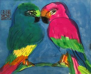 Green and Red Love Birds by Walasse Ting contemporary artwork