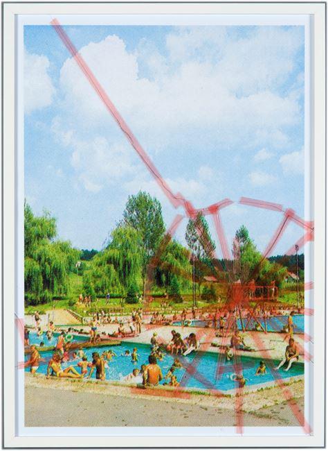 Nine Swimming Pools Behind Broken Glass #2 by Tanja Lažetić contemporary artwork