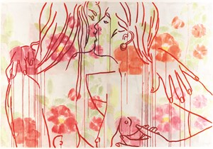 Rose Hearts by Reza Farkhondeh & Ghada Amer contemporary artwork