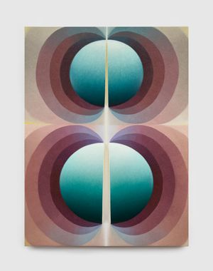 Split orbs in mauve, yellow and teal by Loie Hollowell contemporary artwork