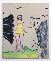 Yellow Bathing Costume, and 6 Birds by Rose Wylie contemporary artwork painting, mixed media