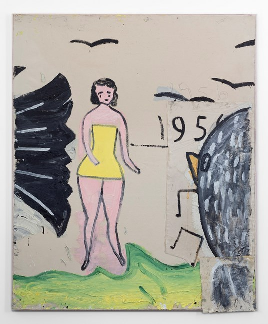Yellow Bathing Costume, and 6 Birds by Rose Wylie contemporary artwork