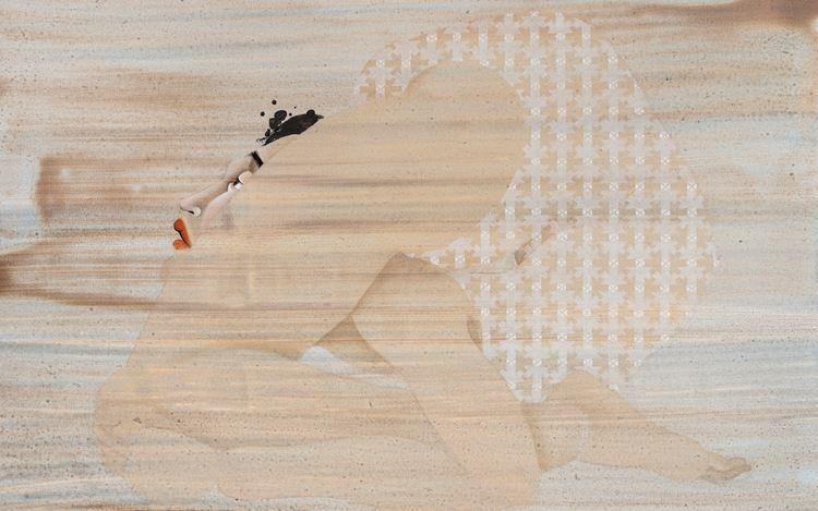Hayv Kahraman, Back Bend 1(2020) (detail). Oil on panel. 127 x 127 cm. Courtesy Pilar Corrias.