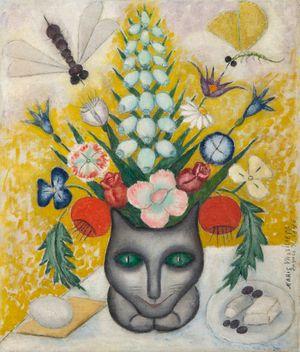 Bouquet de fleurs avec un chat by Marie Vassilieff contemporary artwork