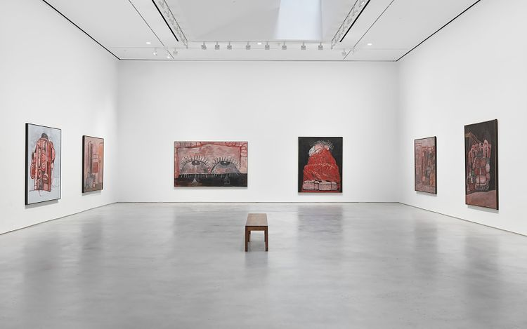 Exhibition view: Philip Guston,Philip Guston, 1969 – 1979, Hauser & Wirth, 22nd Street, New York (9 September–30 October 2021). © The Estate of Philip Guston. Courtesy the Estate and Hauser & Wirth. Photo: Genevieve Hanson.