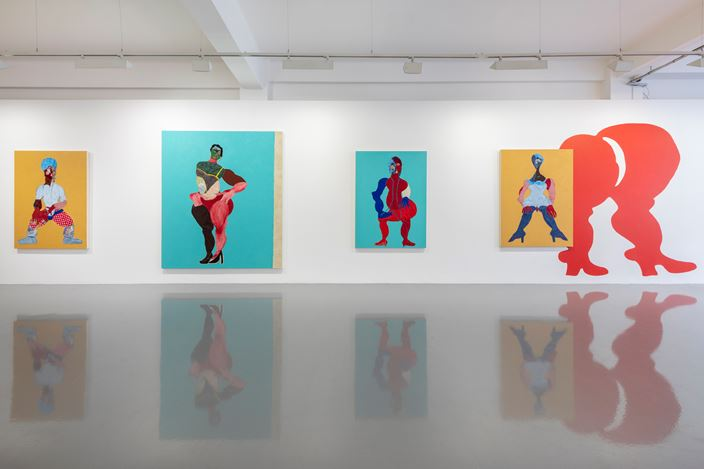 Exhibition view: Tschabalala Self, Thigh High, Pilar Corrias (2 October–9 November 2019). Courtesy the artist and Pilar Corrias, London. Photo: Damian Griffiths.