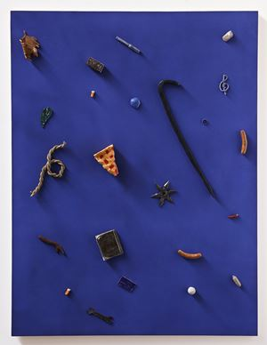 Untitled (crowbar, credit card, pie) by Scott Reeder contemporary artwork