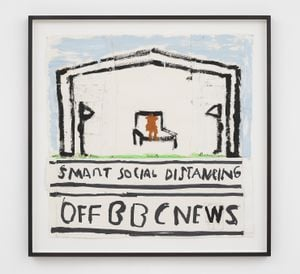 Smart Social Distancing (Birthday Pic) by Rose Wylie contemporary artwork