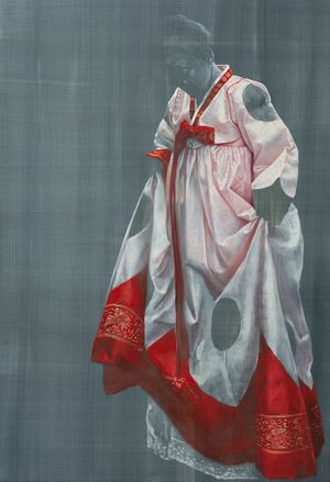 Hanbok in red and white by Helena Parada Kim contemporary artwork