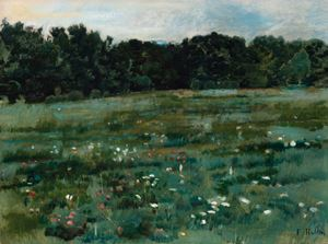 Landschaft mit Wiese und Waldrand by Hodler Ferdinand contemporary artwork