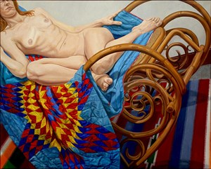Model on Bentwood Rocker and American Quilt by Philip Pearlstein contemporary artwork