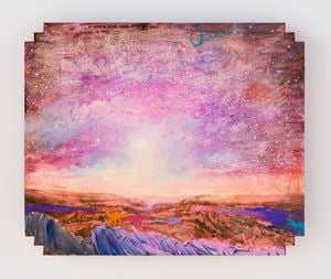 Landscape with pink and dinosaur by Tursic & Mille contemporary artwork
