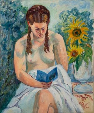 Geneviève Sauty nue lisant by Henri Manguin contemporary artwork