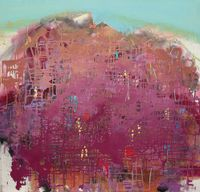 Red Circuit Mountain by Yi Kai contemporary artwork painting