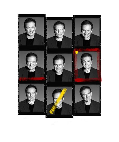 Andy Gotts, Robin Williams Contact Sheet (2021). Fine art giclée archival print. Edition 1/25. 126.6 x 96.2 cm. Courtesy Maddox Gallery.
