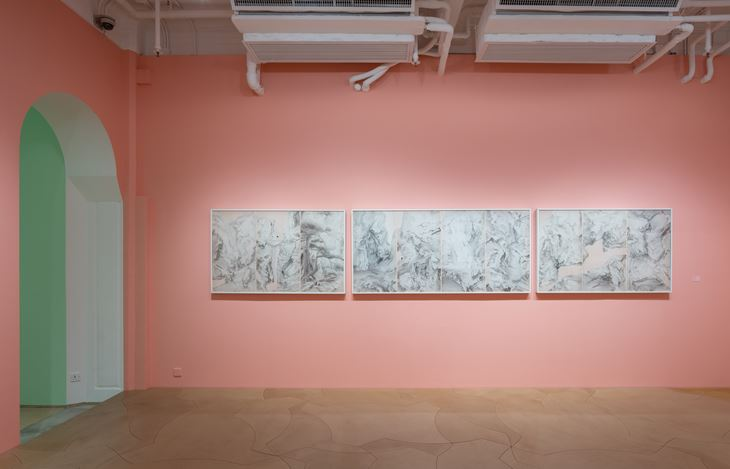 Exhibition view: Luo Ying, Layered Hills 羅穎:疊山記, Hanart TZ Gallery, Hong Kong (12 July–25 August 2018).  Courtesy Hanart TZ Gallery.  Photo: Kitmin Lee.