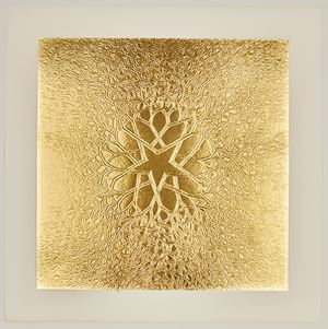 Untitled (P.002-II, Tied wire tree with five pointed center star branching out to square, embossed [gold]) by Ruth Asawa contemporary artwork