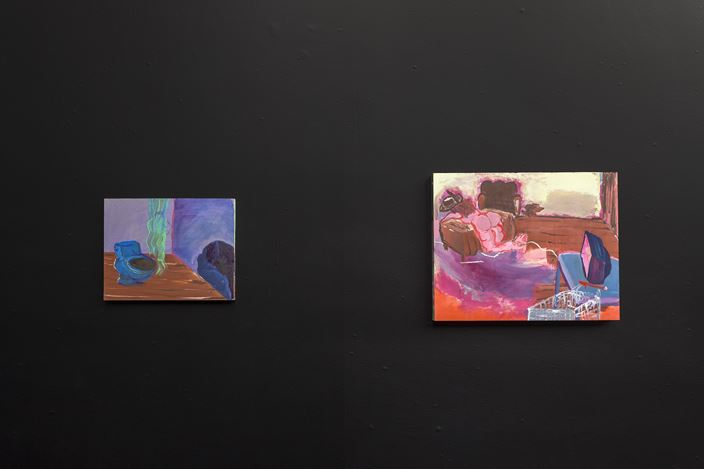 Left: Walter Price, Resting place (2019). Right:Walter Price, Facetime (2019). Exhibition view: Walter Price,Pearl Lines, The Modern Institute, Aird's Lane, Glasgow (13 November 2020–16 January 2021). Courtesy the Artist and The Modern Institute/Toby Webster Ltd, Glasgow.Photo: Patrick Jameson.