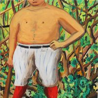 Qp 2 Man in woods by Hiroya Kurata contemporary artwork painting, works on paper