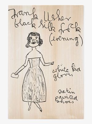 Evening Frank Usher with Purse by Rose Wylie contemporary artwork